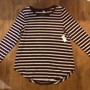 Maroon and White Striped Sweater Old Navy